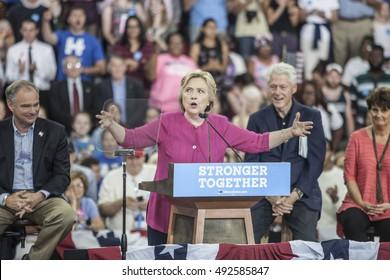 29 July 2016 - Philadelphia,PA - Secretary Hillary Clinton Democratic Presidential Nominee rally in Philadelphia (l-r Tim Kaine, Hillary Cinton, Bill Clnton & Anne Holton).