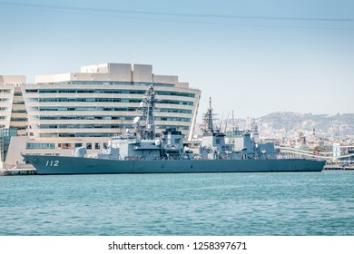 29 JULY 2018, BARCELONA, SPAIN: warship in port of barcelona with japan flag of second world war