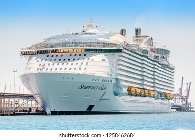 29 JULY 2018, BARCELONA, SPAIN: Symphony of the seas is the biggest cruise ship, parked in Barcelona port