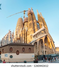 29 JULY 2018, BARCELONA, SPAIN: View of the Sagrada Familia architecture from city street