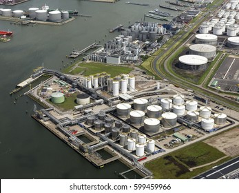 29 June 2016, Rotterdam Botlek, Netherlands. Aerial view of Rubis Terminal Rotterdam, a state of the art terminal for the storage of mineral oil products and chemicals at the heart of the Botlek.