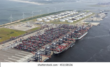 29 June 2016, Rotterdam, Holland. Aerial view of container terminal and oil storage terminal in the harbor  MAASVLAKTE, Netherlands.
