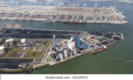 29 June 2016, Rotterdam, Holland. Aerial view of powerplant from ENGIE GDF SUEZ in the harbor Maasvlakte.