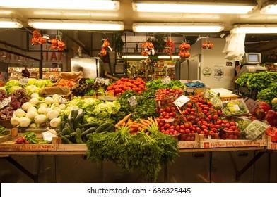 29 June 2017- Genoa, Italy - Ordinary day in a vegetable market in Genoa.