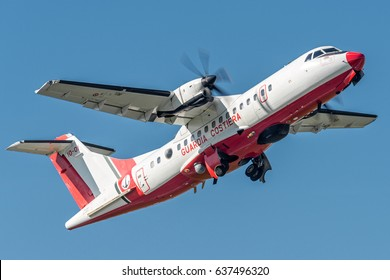 29 March 2017 ATR 42 Italian Coast Guard (Guardia Costiera Italiana) departed from Turin Airport, Italy, to test equipment updated from Leonardo Aircraft.  Used for sea rescue, emergency, sea control.