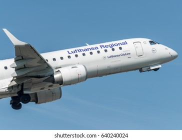 29 March 2017 Embraer E190 Lufthansa departed from Turin Airport, Italy to Frankfurt, Germany, in a sunny morning. Lufthansa is the main German airline and is currently the pillar of the Star Alliance