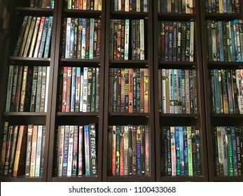 29 May 2018, Bangkok, Thailand : collection of movies, shelf full of CD and DVD.