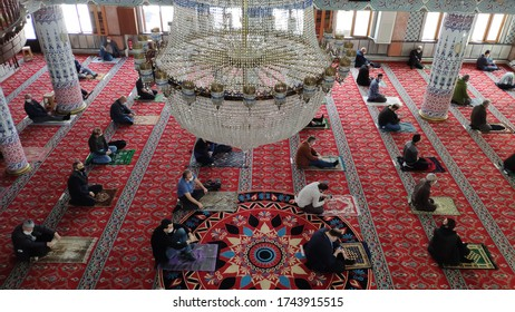 29 May 2020 - Istanbul, Turkey: Coronavirus scope of measures, have been made a long break after observing the rules of social distance today in Turkey Friday prayer in mosque.