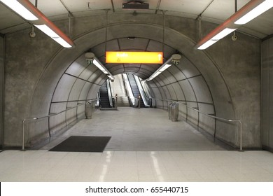 29 november 2015, Bilbao, Spain: passage in subway station of  Metro Bilbao built since 1988 by Norman Foster.