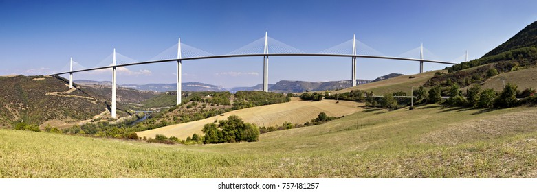 29 September 2011: Millau, Midi Pyrenees, France - The Millau Viaduct carries the A75 Autoroute over the Tarn valley in the Aveyron department. It is the tallest bridge in the world.