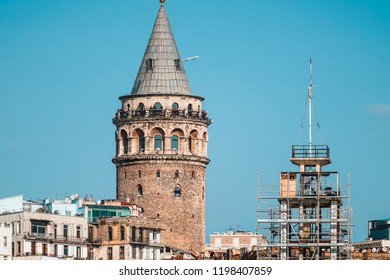 29 September 2018, Istanbul-Turkey: Galata Tower from a distance, Galata Tower at Galata District of Beyoglu.