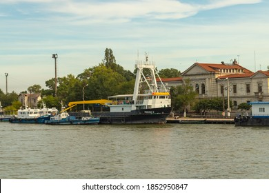 29.08.2020 Sulina, Romania. Ships docked at Sulina docks