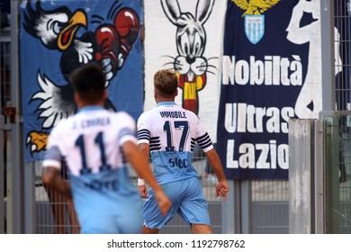 29/09/2018 Stadio Olimpico, Rome, Italy. SERIE A:CIRO IMMOBILE SCORE THE GOL   during the ITALIAN SERIE A match between A.S. ROMA V S.S. LAZIO at Stadio Olimpico in Rome.