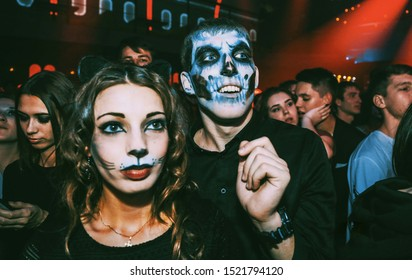 29.10.2016, Russia, Novosibirsk, in a nightclub young people celebrate Halloween with painted faces and different costumes
