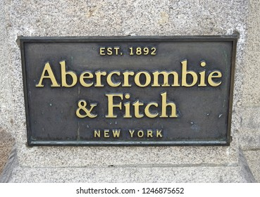 29th November 2018 Dublin. American fashion brand Abercrombie and Fitch wall sign outside their College Green branch in Dublin City Centre.