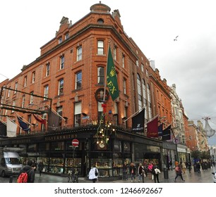 29th November 2018 Dublin.  The iconic jewelry store, Weir and Sons, on Grafton Street, Dublin City Centre.