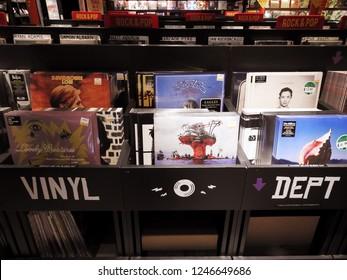 29th November 2018 Dublin.  Music Vinyl display in music retail record store in Dublin City Centre.