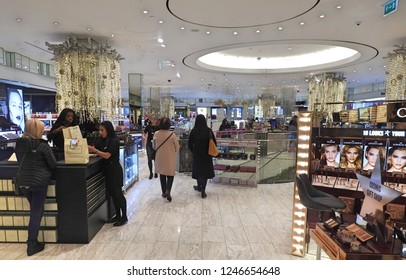 29th November 2018 Dublin.  Shoppers in iconic  Brown Thomas department store during Christmas period, on Grafton Street, Dublin City Centre.
