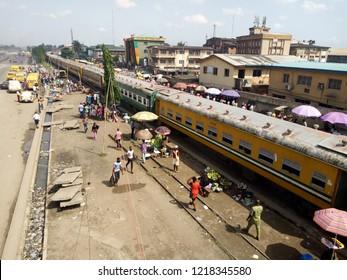 29th OCTOBER 2018-LAGOS NIGERIA: A moving train at Ikeja-along in Lagos Nigeria.