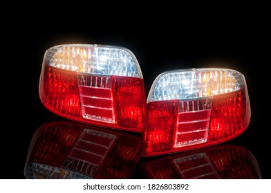 2Car tail light, led system technology Isolated from the background white background clipingpart