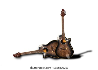 2Chambered Guitar Musical instruments separated from the background clipping part