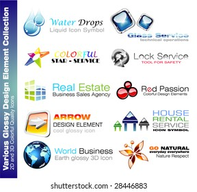 2D and 3D Glossy Colurful Design elements