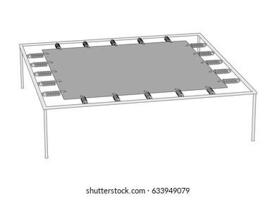 2d cartoon illustration of trampoline