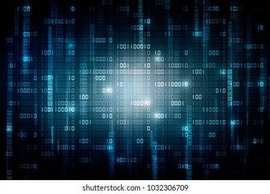 2d illustration abstract digital binary data on computer screen