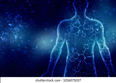 2d illustration Abstract model of human body of DNA molecule
