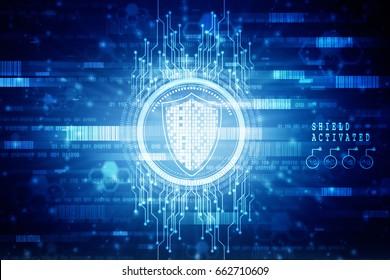 2d illustration Security concept - shield on digital code background