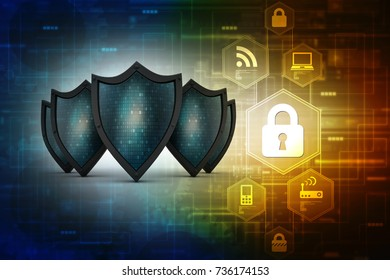 2d illustration Security concept - shield on digital code background