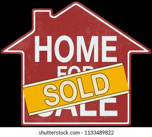 2D illustration. Sign of home for sale in red and sold in yellow over black background. Clipping path included.