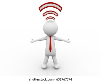 2d illustration WiFi symbol with business man
