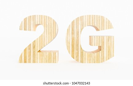 2G symbol made with wood on a white background. 3d Rendering.