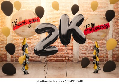 2k or 2000 followers thank you with brilliant Balloons background. For your Celebration and Appreciation for social Network friends, Web user Thank you or celebrate of subscriber, follower, like