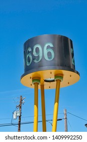 2N696 transistor sculpture near original location of Shockley Semiconductor Laboratory in Silicon Valley - Mountain View, California, USA - May 25, 2019