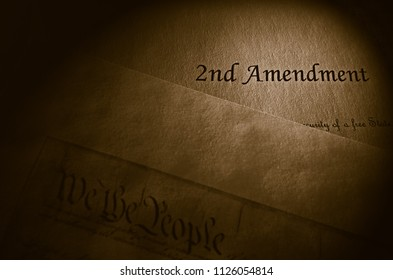 2nd Amendment and US Constitution text on parchment paper