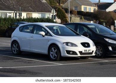 2nd December 2020- A stylish Seat Leon S Emocion Tdi, five door hatchback car, parked in the town carpark at Amroth,Pembrokeshire, Wales, UK.