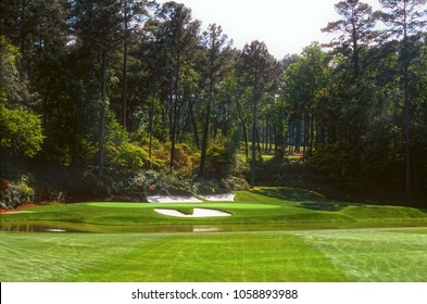2nd May 2016 Augusta National Golf Club, Augusta, GA, USA  the famous par three 12th hole at the  heart of Amen Corner - Home of golf's  MASTERS TOURNAMENT