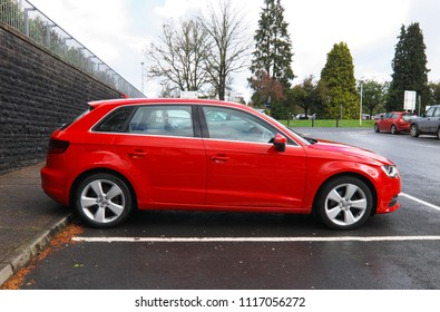 2nd May 2018- An Audi A3 five door hatchback car in the carpark at the Glangwili Hospital at Carmarthen, Carmarthenshire, Wales, UK.