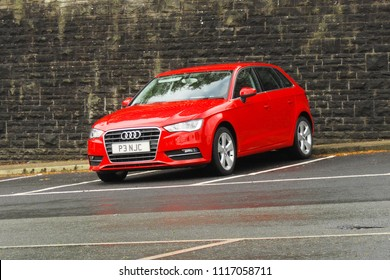 2nd May 2018- An Audi A3 hatchback car in the public carpark at Glangwili Hospital in Carmarthen, Carmarthenshire, Wales, UK.