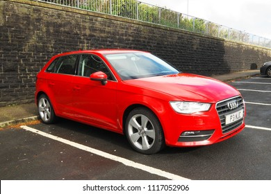 2nd May 2018-An Audi A3 hatchback car in the carpark at the Glangwili Hospital at Carmarthen, Carmarthenshire, Wales, UK.