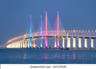 2nd Penang Bridge Light up during blue hour