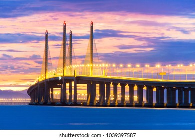 2nd Penang Bridge view during dawn in George Town, Penang, Malaysia