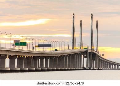 2nd Penang Bridge view during dawn in George Town, Penang, Malaysia