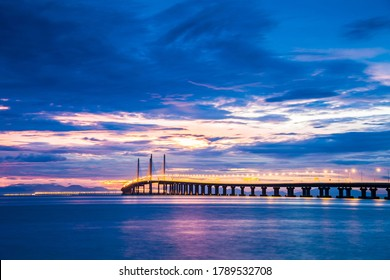 2nd Penang Bridge view during sunrise of George Town, Penang Malaysia