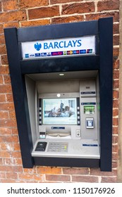 2nd-Aug-2018 - Ashbourne - Derbyshire - Barclays Bank cash machine, cash point on the high street of a quaint English town