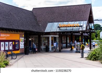 2nd-Aug-2018 - Ashbourne - Derbyshire - The popular supermarket store, shop Sainsbury's at a business park in Ashbourne