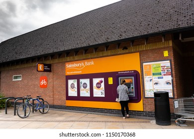 2nd-Aug-2018 - Ashbourne - Derbyshire - Sainsburys Bank in the high street in a quaint old fashioned English town