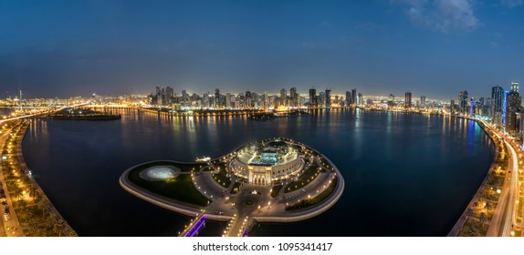 2,United Arab Emirates -April16-2016-The Amphitheatre at sharjah corniche.the aerial view is breathtaking with the city in its full  glory.